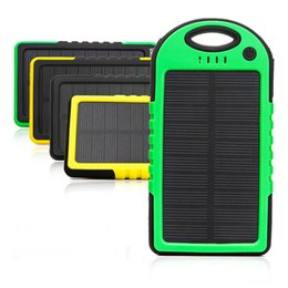 Wholesale Solar Panel Phone Chargers - Universal 5000mAh Solar Charger Waterproof Solar Panel Battery Chargers for Smart Phone iphone7 Tablets Camera Mobile Power Bank Dual USB