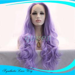 Wholesale Wig Light Purple - Cheap Beautiful Light Purple Color Wavy Synthetic Lace Front Wigs Stylish Heavy Density Heat Resistant Kanekalon Women Wigs