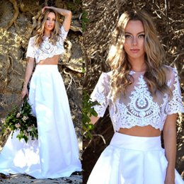 Wholesale Top Short Beach Wedding Dresses - 2018 Two Piece Wedding Dresses Short Sleeves Illusion Appliqued Lace Crop Top Satin Skirt Boho Wedding Dresses Beach Bohemian Bridal Gowns