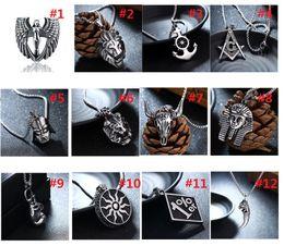 Wholesale Wholesale Titanium Football Necklaces - Titanium steel Pendant Necklace Necklaces Hot Sale Real Pharaohs Pirate Couple Angel Retro Punk For Women Girl Jewelry Wholesale M907