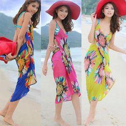 Wholesale Swimwear Mini - Fashion Women Sexy Summer Bikini Chiffon Wrap Floral Print Pareo Boho Dress Sarong Beach Bikini Swimwear Cover Up Scarf