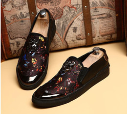 Wholesale Mans Shoes Metal - Fashion Men's Rivet Metal Genuine Leather Slip on Punk Casual Breathable Loafer Shoes Man Driving Loafers Shoes Size