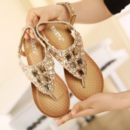 Wholesale Leather Band Beads - Summer Beach Women Sandals Crystal beads Comfortable Seaside Breathable Flip Flops flat Woman Shoes Platform chaussure femme