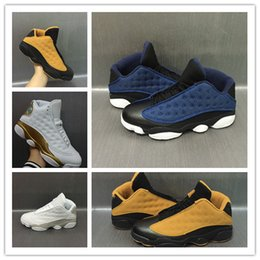 Wholesale Waterproof Riveting - Wholesale 2017 air retro 13 XIII low pure money Navy blue Chutney black gold wheat Men basketball shoes black sports sneakers size 8-13