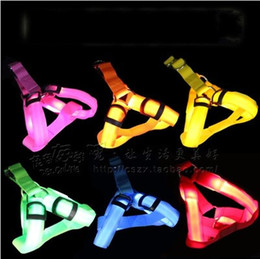 Wholesale Harness Belt Fashion - Glowing Pet Leashes LED Glint Dog Cat Chest Strap Vest Collar Dog Puppy Comfort Harness Cover With Dogs Belt Fashion Colorful 7 5gr