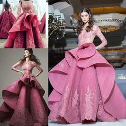 Wholesale Evening Dresses Full Skirt - Saiid Kobeisy Lace Organza Long Sleeve Evening Dresses 2018 Modest Sheer Neck Ruffles Skirt Full length Dubai Arabic Prom Occasion Dress