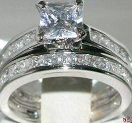 Wholesale Titanium Ring 14k Gold - Free Shipping! New Fashion Elegant women mens lovers wedding ring 14k white gold GP 2.6ct white clear gemstone rings diamond