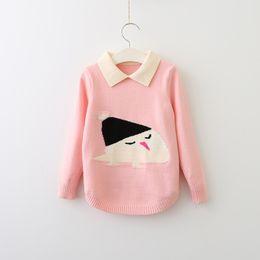 Wholesale Sweater Birds - Everweekend Girls Cartoon Birds Knit Sweater Cute Baby Turn-down Collar Clothes Sweet Kids Western Fashion Fall Tops