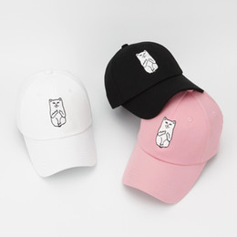 Wholesale Baseball Cat - Wholesale- RIPNDIP Adjustable New Fashion Brand Nermal Cat Baseball Cap Men Women Cotton Snapback Hat Bone Gorras For Man And Women