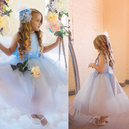 Wholesale Teen Bridesmaid Tulle Dresses - Sky Blue Tulle Graduation Gown Kids 2017 Hot Sales Real Image Prom Dresses Girls Custom Made Junior Bridesmaid Dress Teens Formal Wear