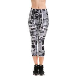Wholesale Newspaper Leggings - Womens Newspaper Digital Print Casual Fitness workout Slim Calf-Length Leggings For Ladies Sexy Active Elastic Skinny Pants