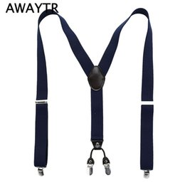 Wholesale Leather Suspenders Wholesalers - Wholesale- Fashion 4 Clip Suspenders Man's PU Leather Braces Adjustable Bretelles Y-Back Ligas Tirantes Gift for Father Husband 3.5*110cm