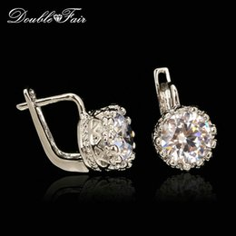 Wholesale Earring Cz Round - CZ Diamond Vintage Stud Earrings Silver Crown Si18K White Gold Plated Fashion Brand Round Rhinestone Jewelry For Women Gift Wholesale DFE611