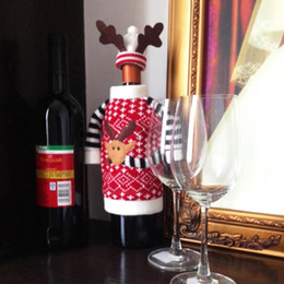 Wholesale Champagne Christmas Tree - Wholesale- 1 Set Christmas Deer Elk Style Red Wine Champagne Bottle Covers Bag For New Year Christmas Decorations Ornament