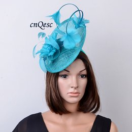 Wholesale Turquoise Colour - colour Turquoise blue big Arrival. Feather Fascinator sinamay hat for Melbourne cup,Wedding,races.