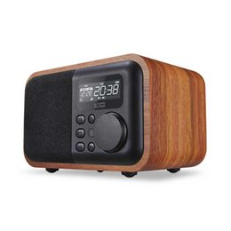 Wholesale Rechargeable Battery Usb - 2017 Bluetooth Speaker with FM Radio Alarm Clock TF USB MP3 Player Wood Stereo Multimedia Wireless Subwoofer