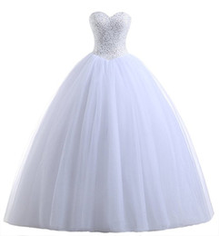 Wholesale Cheap Beach Balls - Cheap Sweetheart Lace Tulle Ball Gown 2016 Beach Wedding Dresses Wedding Guest Dress Plus Size Beading Floor Length