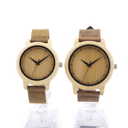 Wholesale Japan Watches For Women - Wholesale- BOBO BIRD Round Bamboo Wooden Wristwatch Japan Movement 2035 Quartz Watch for Couple Men 43mm Dial Women 38mm Dial in Gift Box