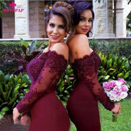 Wholesale Color Wine Red Dress - Cheap New Arrival Off-the-Shoulder Wine Red Trumpet and Mermaid Bridesmaid Dresses with long sheer sleeves and lace appliques