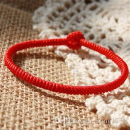 Wholesale Type Rope Lighting - Pure hand-woven authentic Tibetan-style nine by King Kong knot couple Benming Chinese knot red rope bracelet 3MM 16.5cm