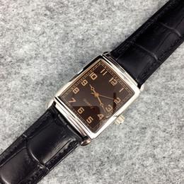 Wholesale Ladies Slim - New Fashion Dress Man Watches male quartz Clock genuine brown leather Slim dial lady man leather wristwatch brand Relojes De Marca Mujer