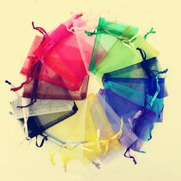 """Color al azar 500Pcs 5 * 7cm (1.96 """"x 2.75"""") Cordón puro Organza Bolsas de joyería Bolsas de regalo de boda del banquete de boda de la boda desde fabricantes"""