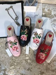 Wholesale Colors Rose Shoes - High quality summer hot seliing women fashion slippers Luxury Brand designer Rose print Flat Scuffs genuine leather high-end 4 colors shoes