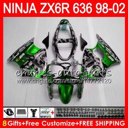ninja 636 parti Sconti Kit 8Gifts Per KAWASAKI NINJA ZX636 ZX-6R ZX-636 600CC ZX 636 31NO95 Camouflage ZX6R 98 99 00 01 02 ZX 6R 1998 1999 2000 2001 2002 Carena