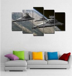 Wholesale Framed Office Wall Art - 5 Pcs Canvas Wall Art Warship Oil Paintings Printed for Home or Office Decor Artwork No Frame Free Shipping