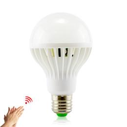 Wholesale 5w Infrared - Free shipping E27 LED Sound Sensor Lamp 220v Led Bulb 3w 5w 7w 9w 12w White Auto Smart Infrared Body Sensor Light
