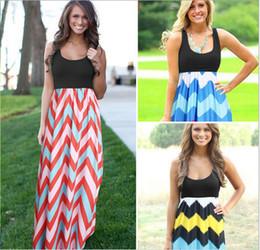 Wholesale Wholesale Long Chevron Dress - Bohemian Color Wave Stripe Dress Stripe Sleeveless Maxi Dresses Sexy Elegant Long Dress Sleeveless Chevron Casual Dresses Vestidos LC588