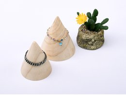Wholesale Jewelry Display Hand Stands - [Simple Seven] Muji Style Jewelry Bracelet Cone Shape Display High Quality Natural Wooden Jewelry Hand Chain Trays