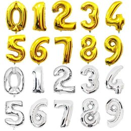 Wholesale Film Aluminum - 32 Inches Number Balloon Aluminum Film 0 - 9 Birthday Party Layout Inflatable Foil Balloons Wedding Decoration Golden Silver Decorative