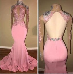 Wholesale Mermaid Eveing Dresses - Real Photos Pink Long Sleeves Prom Dresses Lace Appliques Beaded High Neck Formal Party Dresses Eveing Wear 2018 New Arrival