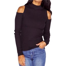 Wholesale Plus Size Off Shoulder Sweater - 5 Colors Women Fashion Casual Sweaters Autumn Spring Off Shoulder Long Sleeve Sweaters Pullovers Solid Plus Size Knitted Sweater Top JC0465