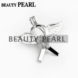 Wholesale Angels Ribbons - Bulk of 3 Pieces 925 Sterling Silver Angel Wing Feet Pendant for Pearl Party Footprint Ribbon Wishing Pearl Cage