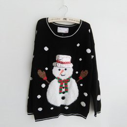 Wholesale Snowmen Knit Hats - Wholesale-2016 New-arriving Women's Ugly Christmas Sweaters Fluffy Snowman black color Wearing Scarf and Sequin Hat Pullovers
