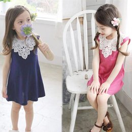 Wholesale Crochet Vest For Girls - Fashion Girls Lace Dress Summer Sundress Princess Sleeveless Crochet Vest Lace Dress Baby Party Dress Kids Clothes for 2-6T 2 Colors 009#