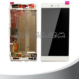 """Huawei p8 numériseur en Ligne-Wholesale-5.2 """"écran de remplacement pour huawei ascend p8 affichage lcd + tactile verre numériseur + montage sur cadre or livraison gratuite"""