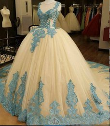 Wholesale Cheap Print Prom Dresses - Luxury Ball Gown Tulle Prom Dresses Sheer Crew Neck Ice Blue Appliques Puffy Quinceanera Gowns Evening Formal Dress Plus Size Cheap 2017