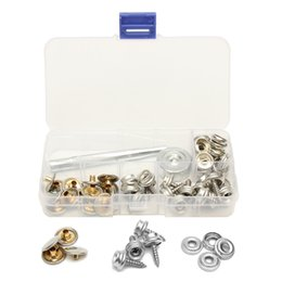 Wholesale Leather Press - 62Pcs Stainless Steel Press Studs Screw Bases Snap Fasteners Kit for Leather