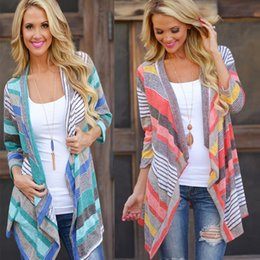 Wholesale Women Long Colorful Cardigans - Wholesale- 2016 Autumn Fashion Casual Womens Boho Cardigan Colorful Stripes Loose Sweater Outwear Knitted Jacket Coat Tops