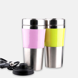 Wholesale Travel Coffee Glasses - Car Volt Electric Heat Insulation Cup Stainless Steel Glasses Drinking Portable Travel Coffee Mug Reusable Water Bottles