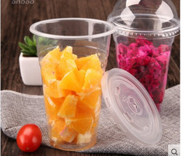 Wholesale Disposable Plastic Tea Cups - Wholesale 50 pcs   set Clear Disposable Plastic Tea Cup Coffee Cups 16oz(450ml) with Lids for Iced Coffee Bubble Boba Smoothie