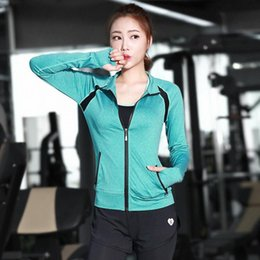 Wholesale Dance Fitness Top - Fashion Sport Yoga Jacket Coat Long Sleeve Clothes Gym Polyester Running Tights Women Fitness Dancing Slim Jersey Tops
