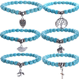 Wholesale Tree Pendant Men Women - Turquoise Bracelets Owl tree of life Cross Pendants Bracelets Bangles Charm Natural Stone Bracelet Yoga Jewelry Men Women buddha to buddha