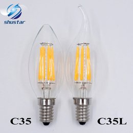 Wholesale E14 Warm 6w - Dimmable E14 E12 Filament Led Lamp 220V 110V 2W 4W 6W Led Edison Bulb Glass Dimming Filament Candle Lamps Christmas Lights
