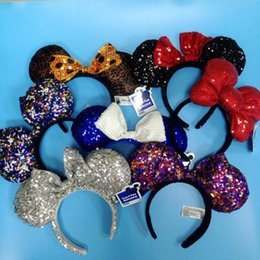Wholesale Dotted Headband - high quality Mickey Minnie Mouse Costume Ears Dots Bow Hair Band Dress Party Headband Thanksgiving Christmas Halloween free shipping