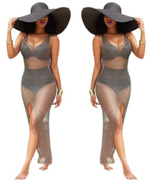 Wholesale Midi Dress Designs - 2017 summer womens sexy club dresses Crochet beach dress bodyfit U scoop neck see through sea woman clothing fashion design cheap price hot