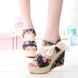 Wholesale Nude Open Toe Platform Wedges - 2017 New Fashion Women Sandals Summer Wedges Women's Sandals Platform Lace Belt Bow Flip Flops open toe high-heeled Women shoes Female